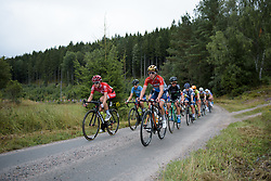 Christine Majerus leads the peloton across the gravel at the Crescent Vargarda - a 152 km road race, starting and finishing in Vargarda on August 13, 2017, in Vastra Gotaland, Sweden. (Photo by Sean Robinson/Velofocus.com)