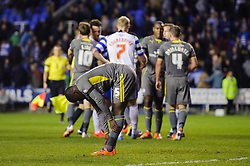 Jeffrey Schlupp (GHA) of Leicester City bends over and looks frustrated after the match finishes in a 1-1 draw - Photo mandatory by-line: Rogan Thomson/JMP - 07966 386802 - 14/04/2014 - SPORT - FOOTBALL - Madejski Stadium, Reading - Reading v Leicester City - Sky Bet Football League Championship.