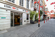 An HSBC Bank Branch in Ghostly China Town in London, is seen going on about business as usual, as the country continues the lockdown to curb the spread of the coronavirus outbreak. Monday, May 4, 2020.<br />