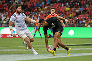 Regan Ware scores during Day 3 of the HSBC World Rugby Sevens, Mens Cup Final match between New Zealand and USA, 2019, Spotless Stadium, Saturday 3rd February 2019. Copyright Photo: David Neilson / www.photosport.nz