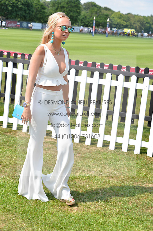 Eleanor Wellesley at Cartier Queen's Cup Polo, Guard's Polo Club, Berkshire, England. 18 June 2017.<br /> Photo by Dominic O'Neill/SilverHub 0203 174 1069 sales@silverhubmedia.com