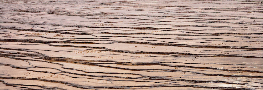 Travertine terraces at the Grand Prismatic Spring, Yellowstone National Park, Wyoming, USA. panorama
