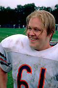 Macalester College football player sweaty after a game age 19.  St Paul Minnesota USA