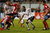 20120307: SAO PAULO, BRAZIL - Player Caniza; Liedson  and Miranda during Corinthians (Brasil) vs Nacional (Paraguai) for Copa Libertadores held at Pacaembu stadium in SP<br /> PHOTO: CITYFILES