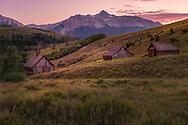 Old ranch buildings, San Juan Mountains, Wilson Mountain, near Telluride, Colordao