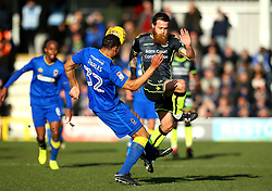 Stuart Sinclair of Bristol Rovers challenges Darius Charles of AFC Wimbledon - Mandatory by-line: Robbie Stephenson/JMP - 17/02/2018 - FOOTBALL - Cherry Red Records Stadium - Kingston upon Thames, England - AFC Wimbledon v Bristol Rovers - Sky Bet League One