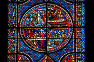 Medieval stained glass Window of the Gothic Cathedral of Chartres, France - dedicated to the Life of St Mary Magdalen. Central panel - bottom left - Mary washing Christ's feet in the house of Simon the Pharisee, bottom right - Death of Lazarus, top left - Their neighbours try to console Mary and Martha, top right - Funeral of Lazarus.  A UNESCO World Heritage Site.. .<br /> <br /> Visit our MEDIEVAL ART PHOTO COLLECTIONS for more   photos  to download or buy as prints https://funkystock.photoshelter.com/gallery-collection/Medieval-Middle-Ages-Art-Artefacts-Antiquities-Pictures-Images-of/C0000YpKXiAHnG2k