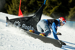 Zan Kosir (SLO) competes during Qualification Run in Men's Parallel Giant Slalom of FIS Snowboard World Cup Rogla 2017, on January 28, 2017 at Course Jasa, Rogla, Slovenia. Photo by Vid Ponikvar / Sportida