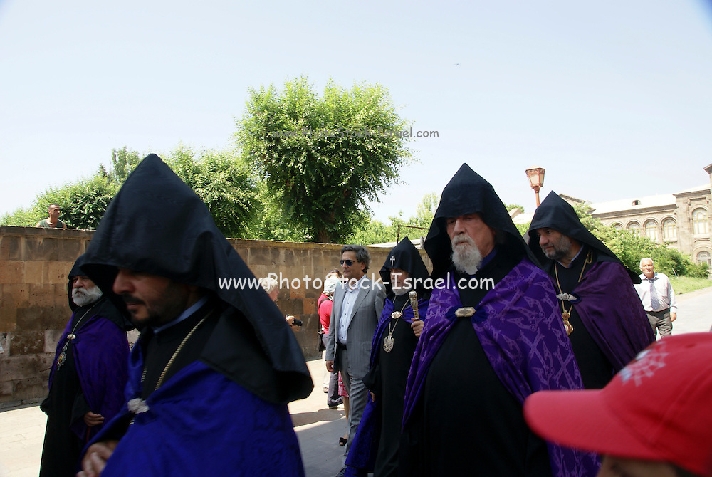 Armenia, Vagharshapat (AKA Echmiadzin) The Sunday procession lead by the Patriarch. His Holiness Karekin II Surpreme Patriarch and Catholicos of All Armenians. the spiritual centre of the Armenians, as it is the seat of the Catholicos of All Armenians, the head of the Holy Armenian Apostolic Church.