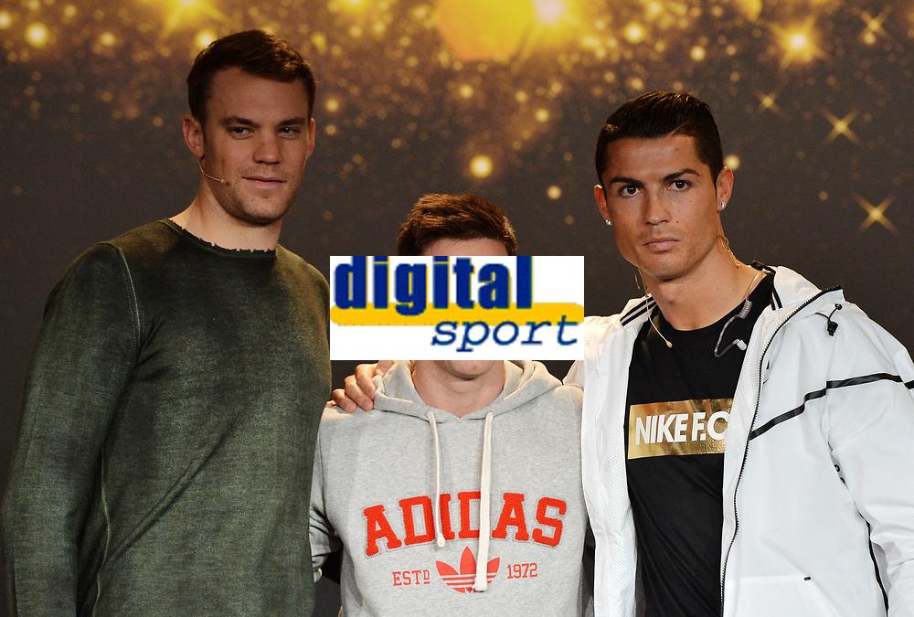 Zuerich, 12.1.2015, FIFA Ballon d'Or 2014, Manuel Neuer (GER), Lionel Messi (ARG) und Cristiano Ronaldo (POR) an der FIFA Ballon d`Or Gala 2014. (Melanie Duchene/EQ Images)
