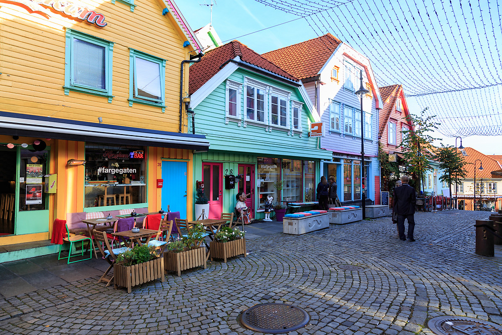 The colourful Holmegate street in Stavanger, Norway.