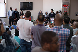 Labour leader Jeremy Corbyn addresses worshippers after prayers at Finsbury Park Mosque in north London, near where one man has died, eight people taken to hospital and a person arrested after a rental van struck pedestrians.
