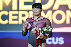 November 2, 2018 - Doha, Qatar - ALEXA MORENO from Mexico poses for photos after winning the bronze medal during the Vault Event Finals competition held at the Aspire Dome in Doha, Qatar. (Credit Image: © Amy Sanderson/ZUMA Wire)