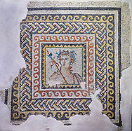 Roman mosaics - Bust of Dionysus Mosaic. House of Oceanos, Ancient Zeugama, 2nd - 3rd century AD . Zeugma Mosaic Museum, Gaziantep, Turkey. .<br /> <br /> If you prefer to buy from our ALAMY PHOTO LIBRARY  Collection visit : https://www.alamy.com/portfolio/paul-williams-funkystock/roman-mosaic.html - Type -   Zeugma   - into the LOWER SEARCH WITHIN GALLERY box. Refine search by adding background colour, place, museum etc<br /> <br /> Visit our ROMAN MOSAIC PHOTO COLLECTIONS for more photos to download  as wall art prints https://funkystock.photoshelter.com/gallery-collection/Roman-Mosaics-Art-Pictures-Images/C0000LcfNel7FpLI