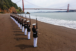 """March 19, 2019 - San Francisco, California, U.S. - Marines with the Silent Drill Platoon, Marine Barracks Washington D.C., execute their """"long line"""" sequence at the Golden Gate Bridge, San Francisco, California, Mar. 19, 2019. The platoon posed for photos to recreate images that were taken by previous platoon's at the bridge. (Credit Image: © U.S. Marines/ZUMA Wire/ZUMAPRESS.com)"""