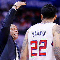 15 April 2014: Los Angeles Clippers head coach Doc Rivers talks to Los Angeles Clippers forward Matt Barnes (22) during the Los Angeles Clippers 117-105 victory over the Denver Nuggets at the Staples Center, Los Angeles, California, USA.