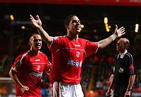 Photo. Daniel Hambury.<br /> Barclays Premiership.<br /> Charlton Athletic v Fulham. 20/12/2004.<br /> Charlton's Talal El Karkouri celebrates his goal