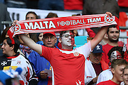 a Malta fan looks on.  FIFA World cup qualifying match, european group F, England v Malta at Wembley Stadium in London on Saturday 8th October 2016.<br /> pic by John Patrick Fletcher, Andrew Orchard sports photography.