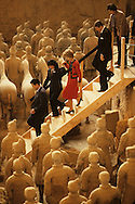 President Ronald Reagan and First Lady Nancy Reagan visit the Terra Cotta Warriors in May 1984..Photograph by Dennis Brack bb24