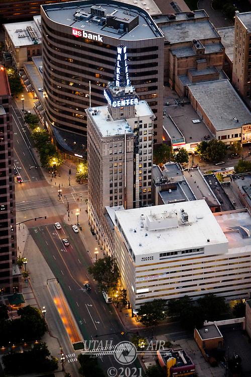 Walker Center & US Bank buildings in Salt Lake City at dusk