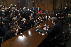May 1, 2019 - Washington, District of Columbia, United States - Attorney General WILLIAM BARR prepares to testify during the Senate Judiciary Committee hearing on the ''Department of Justice's Investigation of Russian Interference with the 2016 Presidential Election.'' Barr told the Senate Judiciary Committee that he did not misrepresent the report. (Credit Image: © Douglas Christian/ZUMA Wire)