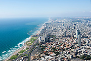 Aerial Photography of Tel Aviv, Israel The coastline of southern Tel Aviv as seen from south