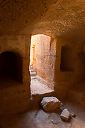 Interior of Tombs of the Kings in Paphos Archaeological Park in Cyprus