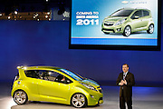 General Motors North America President Troy Clarke introduces the Chevrolet Beat concept while announcing production plans for a new vehicle - the Chevrolet Spark - a fuel efficient mini-car based on the Beat design - during a press conference at the North American International Auto Show in Detroit, Michigan Sunday, January 8, 2008. The Chevrolet Spark will arrive in dealer showrooms in 2011.