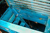 Indonesia, Java, Jakarta. Bugis Pinisi engine room. The stair lead down to the engine room. Sunda Kelapa.