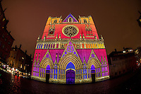 LYON, FRANCE - DECEMBER 04: For four nights over 70 light installations will create a magical atmosphere in the streets, squares and parks all over the city and millions of visitors both French and from abroad will enjoy the friendly and joyful spirit of this unique event on December 4, 2014 in Lyon, France. (Photo by Bruno Vigneron/Getty Images)