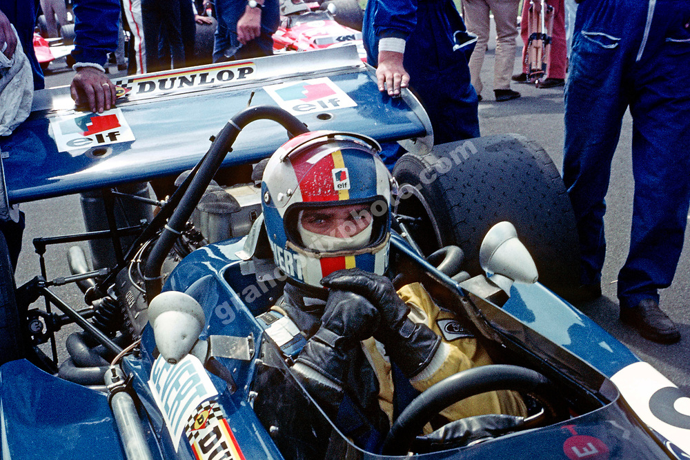 Francois Cevert (Tyrrell March-Ford) on the grid before the 1970 British Grand Prix at Brands Hatch. Photo: Grand Prix Photo
