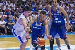 November 27, 2017 - Cubao, Quezon City, Philippines - Calvin Abueva rushing to the ball against Kuan-Chuan Chen.Gilas Pilipinas defended their home against Chinese Taipei. Game ended at 90 - 83. (Credit Image: © Noel Jose Tonido/Pacific Press via ZUMA Wire)