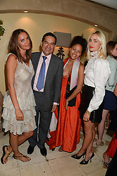 Left to right, SASHA VOLKOVA, JESUS ADORNO, RACHEL BARRETT and PRINCESS ELISABETH THURN & TAXIS at an evening of Dinner & Dancing at Daphne's, 112 Draycott Avenue, London SW3 on 24th July 2013.