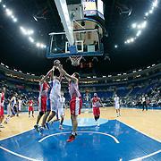 Anadolu Efes's Milko Bjelica (C) during their Gloria Cup Basketball Tournament match Anadolu Efes between Crvena Zvezda at Ulker Sports Arena in istanbul Turkey on Friday 26 September 2014. Photo by Aykut AKICI/TURKPIX