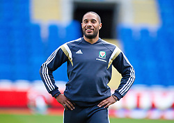 09.10.2014, City Stadium, Cardiff, ENG, FS Vorbereitung, Trainingslager, Nationalteam Wales, in Vorbereitung auf das kommende UEFA Euro 2016 Qualifikationsmatch gegen Bosnien Herzegovina am 10. Oktober in Cardiff, im Bild Wales' captain Ashley Williams // during a training session of the national footballteam of Wales in preparation for the upcoming EURO 2016 qualifying match against Bosnia and Herzegovina on 10. October 2014 in Cardiff, at the City Stadium in Cardiff, Great Britain on 2014/10/09. EXPA Pictures © 2014, PhotoCredit: EXPA/ Propagandaphoto/ David Rawcliffe<br /> <br /> *****ATTENTION - OUT of ENG, GBR*****