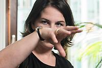 02 JUL 2019, BERLIN/GERMANY:<br /> Annalena Baerbock, MdB, B90/Gruene, Parteivorsitzende, waehrend einem Interview, in ihrem Buero, Jakob-Kaiser-Haus, Deutscher Bundestag<br /> IMAGE: 20190702-01-027