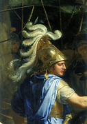 Alexander the Great's head.  Detail from 'Alexander and Porus' by Chalrews le Brun(1619-1690). From series of pictures on History of Alexander the Great. Louvre, Paris.