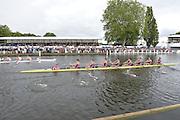 Henley, GREAT BRITAIN. Princess Elizabeth Challenge Cup. Abingdon School vs Radley College, pass through the Stewards Enclosure at 2012 Henley Royal Regatta...Sunday  15:58:09  01/07/2012. [Mandatory Credit, Peter Spurrier/Intersport-images]...Rowing Courses, Henley Reach, Henley, ENGLAND . HRR.