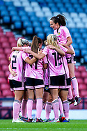 Scotland players celebrate their first goal (1-1) scored by Erin Cuthbert (#22) of Scotland during the International Friendly match between Scotland Women and Jamaica Women at Hampden Park, Glasgow, United Kingdom on 28 May 2019.