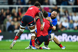 Simone Ferrari of Italy is tackled by Tom Curry of England<br /> <br /> Photographer Craig Thomas/Replay Images<br /> <br /> Quilter International - England v Italy - Friday 6th September 2019 - St James' Park - Newcastle<br /> <br /> World Copyright © Replay Images . All rights reserved. info@replayimages.co.uk - http://replayimages.co.uk