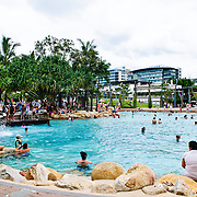 Crowds enjoying the beach at Southbank, and inner city beach in Brisbane