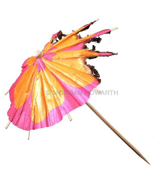197 Burning paper cocktail umbrella