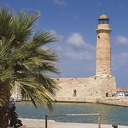 Rethymno lighthouse in old Venetian harbor, Crete
