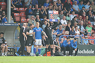 Substitution  during the EFL Sky Bet League 1 match between Rochdale and Bradford City at Spotland, Rochdale, England on 21 April 2018. Picture by Mark Pollitt.