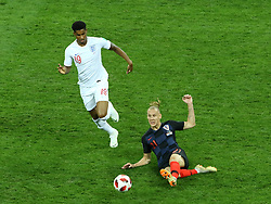 July 11, 2018 - Moscow, Russia - July 11, 2018, Moscow, FIFA World Cup 2018 Football, the playoff round. 1/2 finals of the World Cup. Football match Croatia - England at the stadium Luzhniki. Player of the national team Markus Rashford (19), Domaja Vida  (Credit Image: © Russian Look via ZUMA Wire)