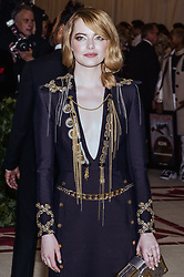 Emma Stone walking the red carpet at The Metropolitan Museum of Art Costume Institute Benefit celebrating the opening of Heavenly Bodies : Fashion and the Catholic Imagination held at The Metropolitan Museum of Art  in New York, NY, on May 7, 2018. (Photo by Anthony Behar/Sipa USA)
