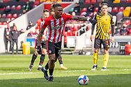 Brentford Forward Ivan Toney(#17) steps up to strike the penalty that put Brentford 2-0 up in the EFL Sky Bet Championship match between Brentford and Watford at Brentford Community Stadium, Brentford, England on 1 May 2021.