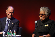 29 October 2010- Harlem, New York- l to r: Paul LeClerc, President, New York Public Library and Maya Angelou at The Acquisition of the Maya Angelou Collection of Personal Papers and Materials Documenting 40 years of the Writer's Literary Career held at the Schomburg Center on October 29, 2010 in Harlem, USA. Photo Credit: Terrence Jennings