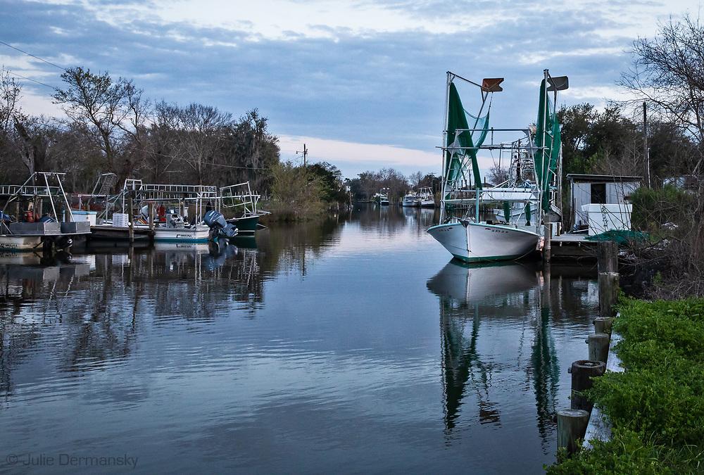 Shrimp boats in Point Aux Chenes, Louisiana.