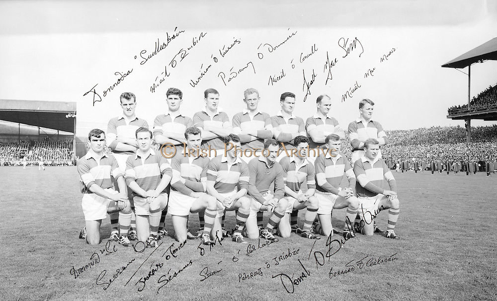 The Kerry Senior team before the All Ireland Minor Gaelic football final Derry v. Kerry in Croke park on the 26th September 1965. <br />